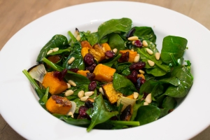 Roasted Butternut Squash and Garlic over Spinach