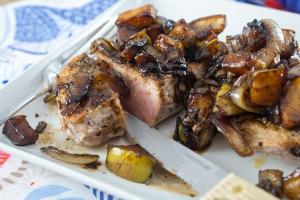 Caramelized Onion, Pear, Balsamic Pork Chops