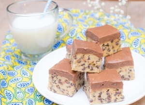 Cookie Dough Bars with Peanut Butter Fudge Topping