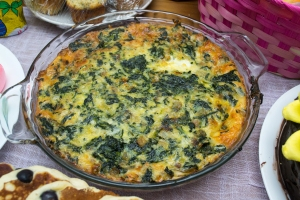 Spinach Swiss Muenster Crustless Quiche