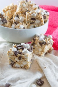 Peanut Butter White Chocolate Krispie Bars with marshmallows and Chocolate Chunks