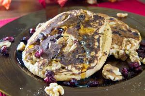 Cranberry Walnut Wheat Pancakes