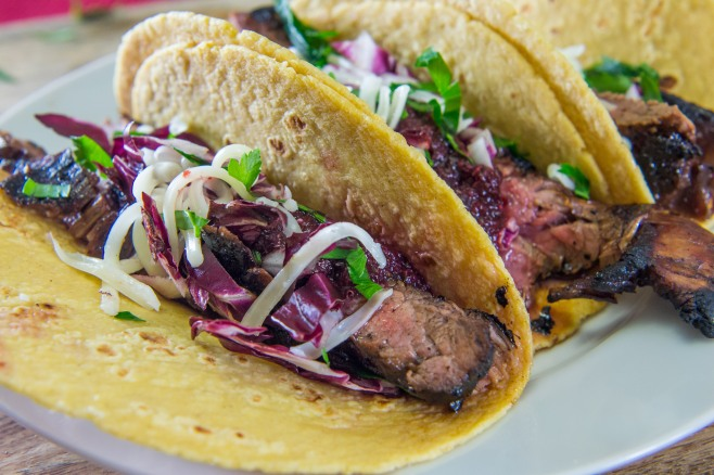 Cherry Chipotle Salsa Steak Tacos